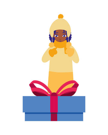 girl with winter clothes and christmas gifts vector illustration Archivio Fotografico - 137794062