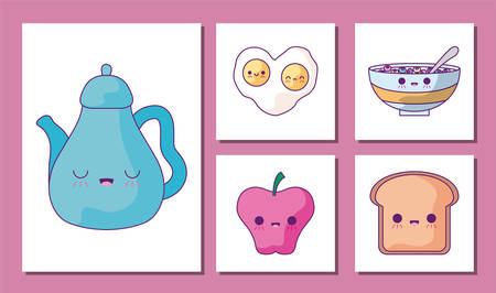 cartoons icon set design, Breakfast food meal fresh product natural store and cooking theme Vector illustration