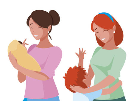 beautiful mothers with little kids characters vector illustration design Иллюстрация