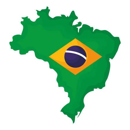 map with brazilian flag vector illustration design Çizim