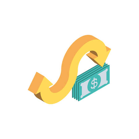 bills and arrows of money financial item banking commerce market payment buy currency accounting and invest theme Vector illustration Banque d'images - 137804271