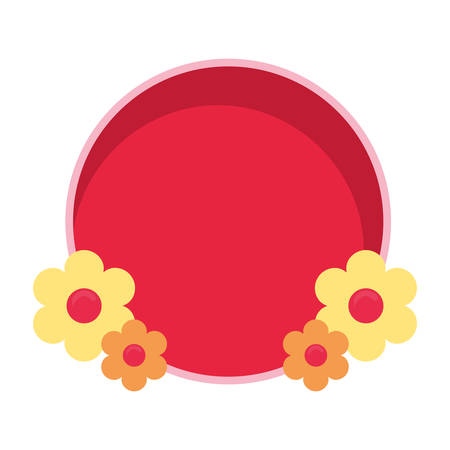 flowers badge decoration empty template vector illustration Banque d'images - 137804299