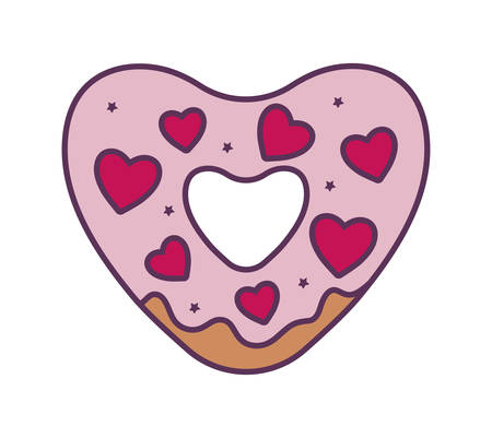 Donut with hearts design of love passion romantic valentines day wedding decoration and marriage theme Vector illustration Ilustração