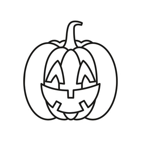 cartoon halloween pumpkin over white background, vector illustration