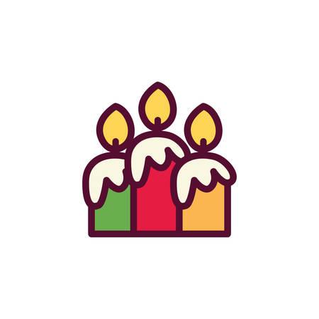 Candles icons design, Fire flame candlelight light spirituality burn and decoration theme Vector illustration Ilustração