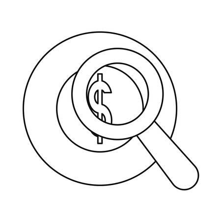 dollar money magnifier currency background vector illustration Иллюстрация