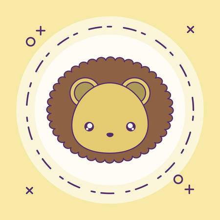 head of cute little lion baby in frame circular vector illustration design Banque d'images - 137848686