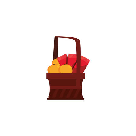 Chinese food inside basket design, China culture asia travel landmark famous asian and oriental theme Vector illustration
