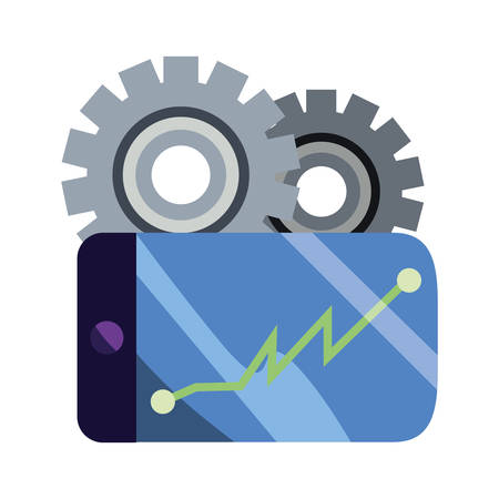cellphone app chart report gears vector illustration