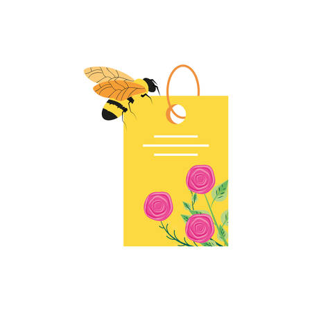 tag with flowers decoration and bee vector illustration design Illusztráció