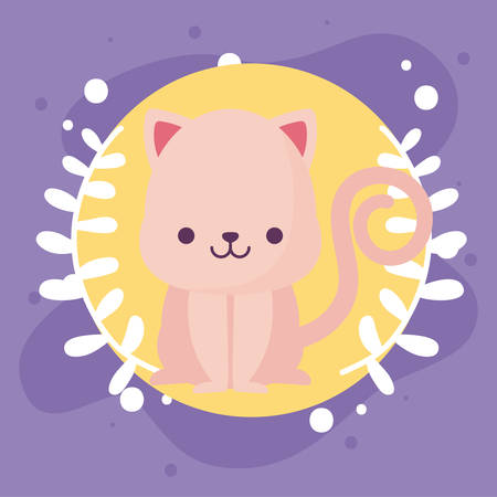 cat cartoon design, Kawaii expression cute character funny and emoticon theme Vector illustration