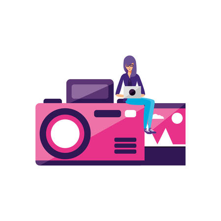 woman using laptop with camera photographic vector illustration design