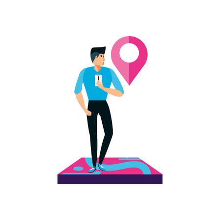 uomo che utilizza lo smartphone con il design dell'illustrazione vettoriale della posizione del puntatore pin Vettoriali