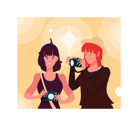 Women with camera design, Device gadget technology photography equipment digital and photo theme Vector illustration Иллюстрация