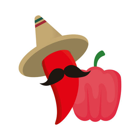 chili peppers with hat mexican isolated icon vector illustration design