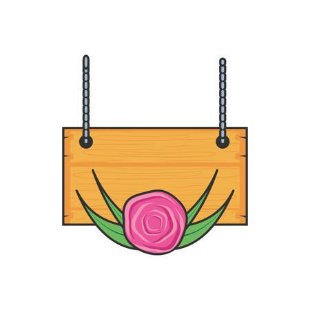 label wooden hanging with rose natural and leaf vector illustration design