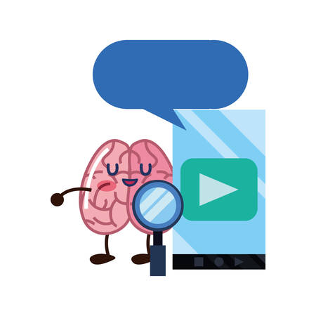 brain cartoon education mobile online magnifier vector illustration