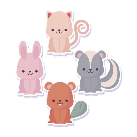 rabbit beaver skunk and cat cartoon design, Kawaii expression cute character funny and emoticon theme Vector illustration