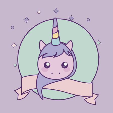head of cute little unicorn baby with ribbon vector illustration design