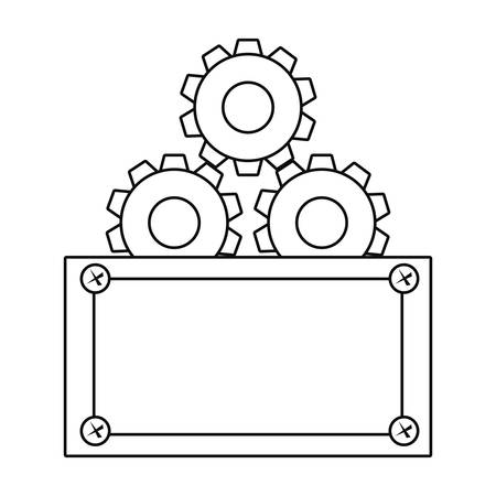 gear construction board tool vector illustration design