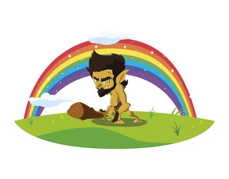 caveman gnome with rainbow magic character vector illustration design Standard-Bild - 137957233