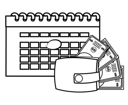 wallet with bills dollars and calendar vector illustration design