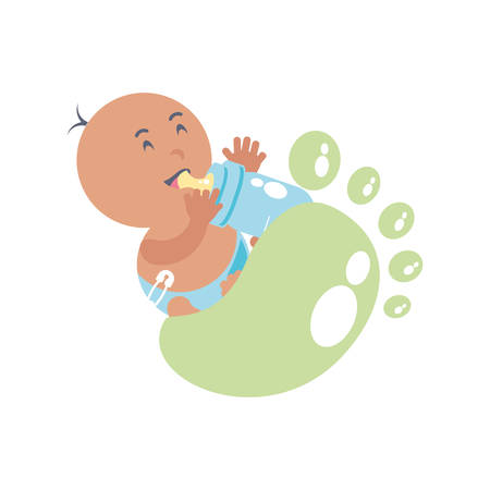 cute baby boy with bottle milk and footprint decoration vector illustration design