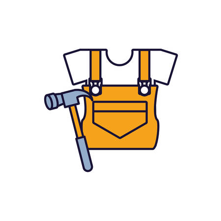 overall uniform construction with hammer vector illustration design Ilustração