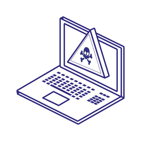 Laptop and skull design of Security system warning protection danger web alert and safe theme Vector illustration