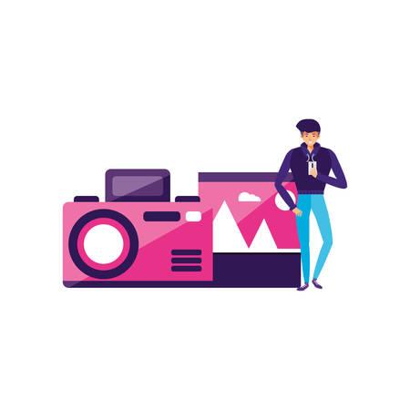 man using smartphone with camera photographic vector illustration design Иллюстрация