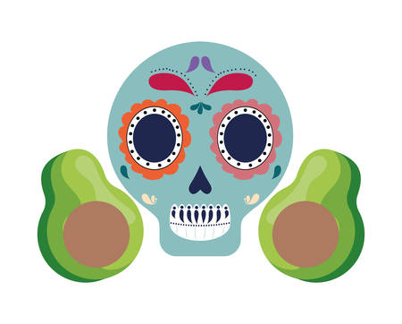 skull mexican with avocados isolated icon vector illustration design Фото со стока - 137970083