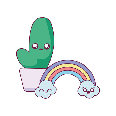 Cactus and rainbow cartoon design, Kawaii expression cute character funny and emoticon theme Vector illustration
