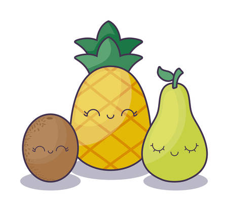 pineapple with pear and kiwi fruit character vector illustration design 向量圖像
