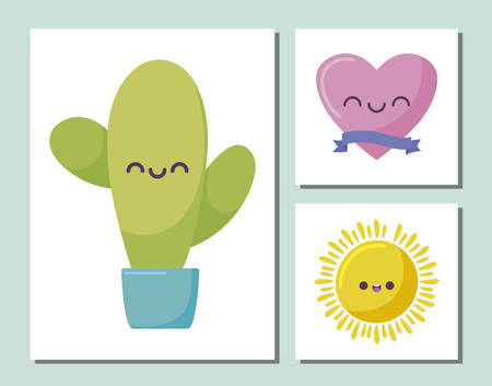 cactus and icon set cartoons design, Kawaii expression cute character funny and emoticon theme Vector illustration Ilustracja