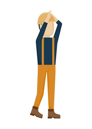 worker construction man with helmet security vector illustration design Çizim