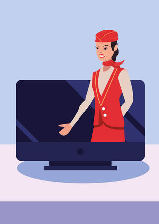 flight attendant profession labour day vector illustration design