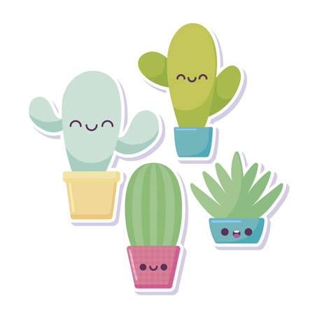 cactus cartoons design, Kawaii expression cute character funny and emoticon theme Vector illustration