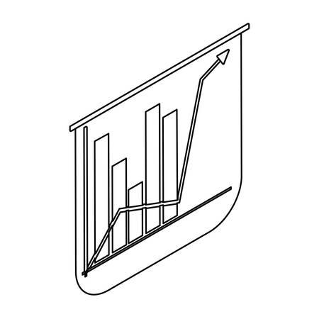 graph bar chart with arrow on white background vector illustration design Иллюстрация