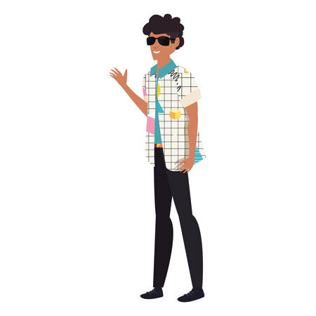 man character retro 80s style white background vector illustration