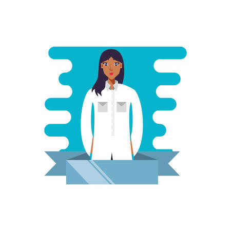doctor female professional with ribbon vector illustration design 向量圖像