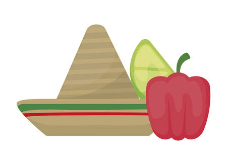 hat mexican with pepper and lemon vector illustration design