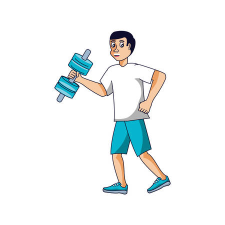 man athletic with dumbbell avatar character vector illustration design 向量圖像
