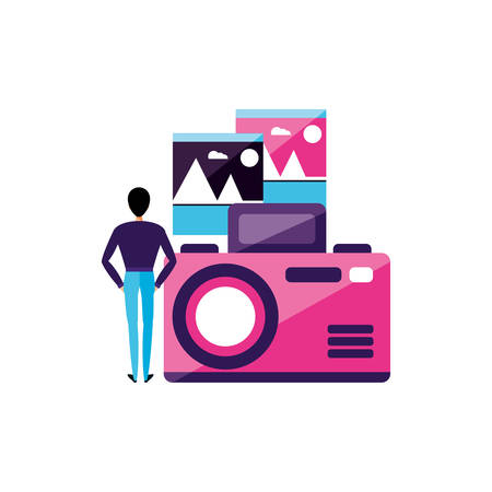 man with camera photographic device vector illustration design