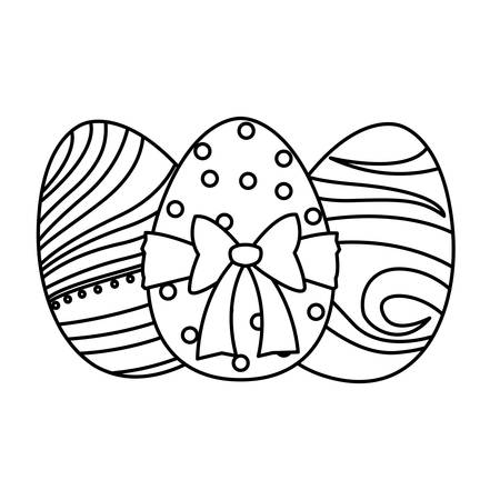 happy easter eggs painted with bow vector illustration design Ilustracja