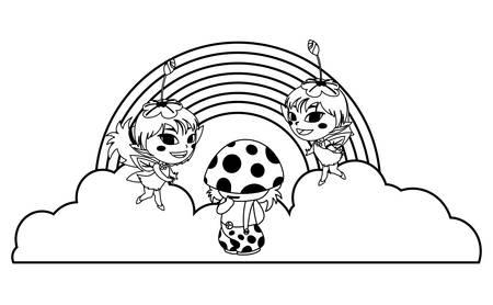 beautiful magic fairies with fungu elf and rainbow vector illustration design Standard-Bild - 137958094