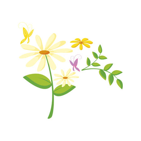 beautiful flowers garden with butterfly vector illustration design