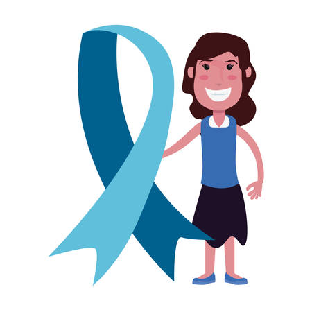 happy girl blue ribbon autism vector illustration