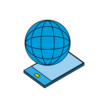 smartphone device with world planet vector illustration design