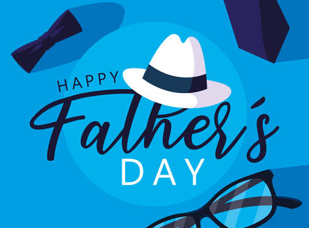 happy father day card with gentleman hat and icons vector illustration design