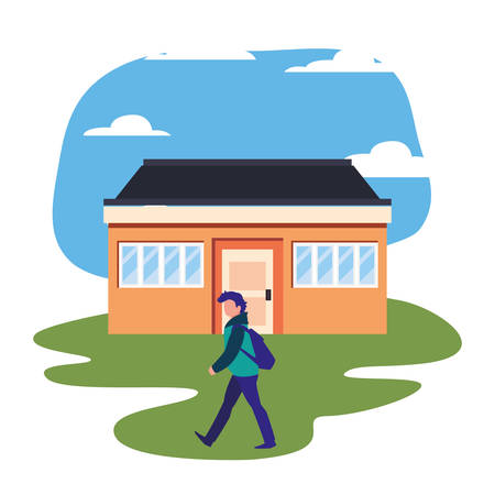 man standing in front of house street vector illustration Çizim